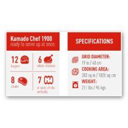 Kamado Chef 1900 Prestige Red Smooth-Stand Alone (rozsdamentes acél)