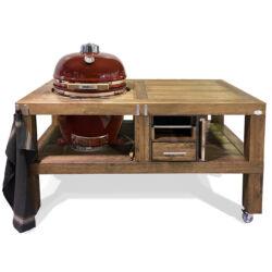 """Kamado Chef grill asztal 19""""-os kamado grillhez - tölgy mocha"""