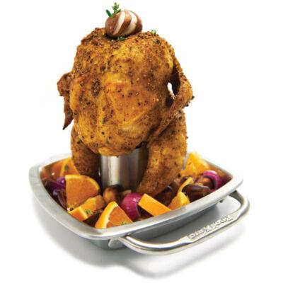 Rozsdamentes csirkesütő tál , grill eszköz