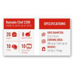 Kamado Chef 2200 Prestige Red Smooth (rozsdamentes acél)