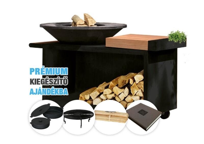 OFYR ISLAND BLACK 100 PRO TEAK WOOD - fatárolóval és vágódeszkával (gurulós) - Csomagajánlat